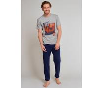 Shirt kurzarm grau meliert bedruckt - Uncover