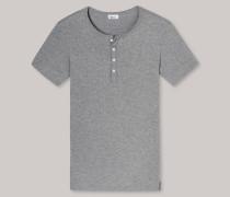 Schiesser Shirt kurzarm mit Knopfleiste grau meliert - Revival Fred für Herren