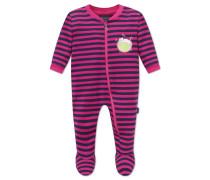 Babyanzug lang mit Fuß und Reißverschluss dunkelblau-pink geringelt - Hokuspokus
