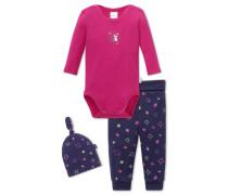 Baby-Set 3-teilig pink-dunkelblau bedruckt - Hokuspokus