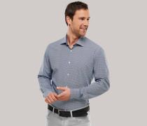Schiesser Hemd langarm Hai-Kragen blau gemustert - SLIM FIT für Herren