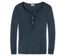 Shirt langarm Feinripp mit Knopfleiste blauschwarz - Revival Elli