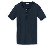 Shirt kurzarm Doppelripp dunkelblau - Revival Heinrich