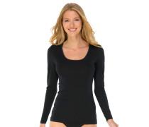 Shirt langarm Feinripp rundhals Spenzer schwarz - Luxury
