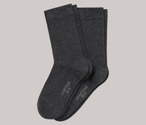 Schiesser Damensocken 2er-Pack anthrazit meliert - Cotton Fit für Damen