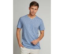 Schiesser T-Shirt V-Ausschnitt Ringel hellblau-weiß - Selected! Premium für Herren