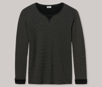 Sweater Feinripp Doubleface Ringel oliv-schwarz - Revival Anton für Herren