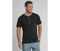 Shirt kurzarm Feinripp Henley Knopfleiste schwarz - Selected! Premium,Shirt kurzarm Feinripp Henley Knopfleiste schwarz -elected! Premium
