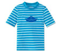 Bade-Shirt kurzarm LSF 40+ blau-weiß geringelt - Aqua Boats & Stripes
