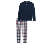 Schlafanzug lang Interlock Knopfleiste dunkelblau - Family