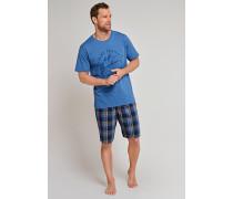 Shirt kurzarm rundhals hellblau bedruckt - Mix & Relax