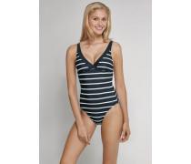 Schiesser Badeanzug anthrazit-weiß geringelt - Aqua Raw Coast für Damen