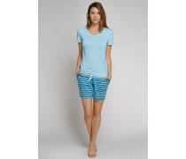Shirt kurzarm mit Bindeband am Saum aqua-blau - Mix & Relax