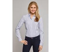 Bluse langarm hellblau gestreift - tailliert für Damen