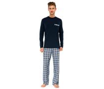 Schlafanzug lang Jersey Karo dunkelblau - Essentials