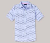 Schiesser Hemd kurzarm Chambray Webware blau bedruckt- Raw Denim für Jungen