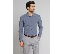 Hemd langarm Kentkragen blau gestreift - SLIM FIT