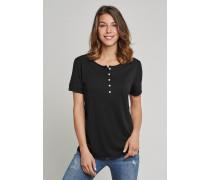 Schiesser Shirt kurzarm mit Knopfleiste schwarz - Selected! Premium für Damen