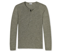 Shirt langarm mit Knopfleiste grün meliert - Revival Jakob
