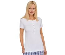 """weißes """"Mix & Relax"""" - T-Shirt mit Knopfleiste"""