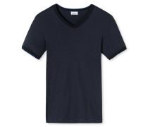 Shirt kurzarm leichter Doppelripp V-Ausschnitt blauschwarz - Revival Harald