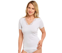 "weißes ""Long Life Cotton"" T-Shirt mit Spitze"