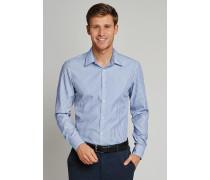 Schiesser Hemd langarm Kent-Kragen blau-weiß gestreift - SLIM FIT für Herren