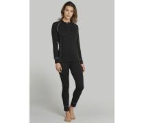 Schiesser Shirt langarm Funktionswäsche Zipper extra warm schwarz - Thermo Plus für Damen