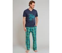 Shirt kurzarm V-Ausschnitt nachtblau bedruckt - Uncover