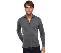 Zipper-Cardigan Stehkragen grau meliert Kaschmir