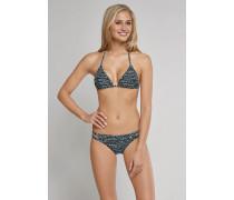 Schiesser Triangel-Bikini mit Mini-Slip und herausnehmbaren Cups anthrazit-weiß - Aqua Raw Coast für Damen