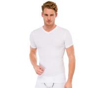 Shirt kurzarm V-Ausschnitt Doppelripp weiß - uncover