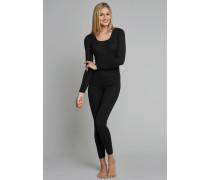 Shirt langarm Feinripp rundhals Spenzer schwarz - Luxury für Damen