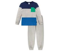 Schlafanzug lang Interlock Bündchen mehrfarbig geringelt - Otto lernt Rechnen