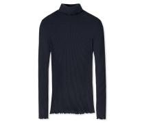 Shirt langarm Feinripp aus Zwirn Rollkragen blauschwarz - Revival Helena
