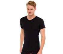 Shirt kurzarm V-Ausschnitt Doppelripp schwarz - uncover