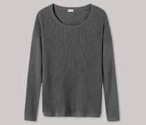 Pullover Feinstrick in Ajour Kaschmir-Touch grau meliert - Revival Lea für Damen
