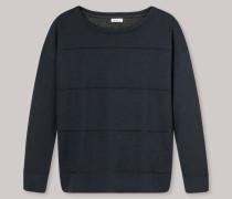 Sweater Double Face rundhals dunkelblau meliert - Revival Erna für Damen