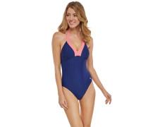 Badeanzug dunkelblau-weiß gepunktet - Aqua