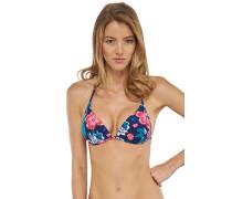Bikini Triangel-Top blumig bedruckt - Aqua