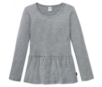 Shirt langarm mit Schößchen grau meliert - Mix & Relax