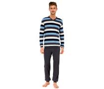 Schlafanzug lang Jersey Vollbündchen blau geringelt - Essentials