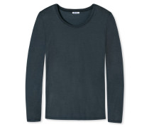Shirt langarm Jersey aus Zwirn rundhals blauschwarz - Revival Ina