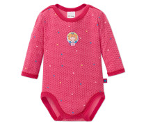 Babybody langarm Feinripp pink bedruckt - Prinzessin Lillifee