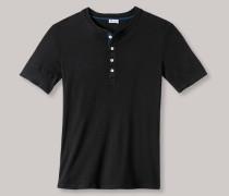 Schiesser Shirt kurzarm mit Knopfleiste schwarz - Revival Karl-Heinz für Herren