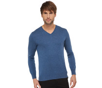 Strickpullover Merino-Wolle V-Ausschnitt dunkelblau meliert - selected! premium
