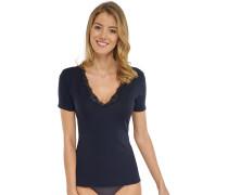 Shirt kurzarm mit floraler Spitze blauschwarz - Long Life Cotton
