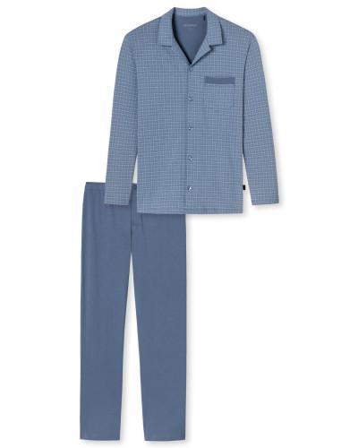 Pyjama lang Jersey indigoblau gemustert - Original Classics