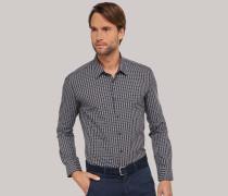 Schiesser Hemd langarm Kent-Kragen anthrazit-schwarz kariert - SLIM FIT für Herren