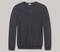 Sweatshirt leichte Sweatware Bündchen graublau - Revival Anton für Herren